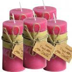 Frost Candle Stumpenkerze 6,5 cm Durchmesser, 14,5 cm Höhe, Pink 5-er Set