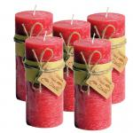 Frost Candle Stumpenkerze 6,5 cm Durchmesser, 14,5 cm Höhe, Signal Red 5-er Set