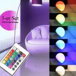 LED-GLÜHBIRNE 3er-SET RGB+W 7,5 Watt E27 Sockel 15 versch. Farben Glühbirne
