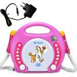 X4-Tech CD-Player + Netzadapter, Mikrofon, Pink-Weiss-Gelb, MP3, SD-Karte, USB