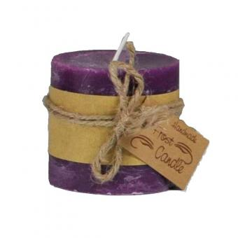Frost Candle Stumpenkerze 10 cm Durchmesser, 10 cm Höhe, Violet 1 Stück