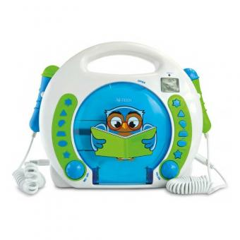 X4-Tech BobbyJoey Lese Eule Kinder CD-Player mit Karaoke- + Hörbuchfunktion Accu