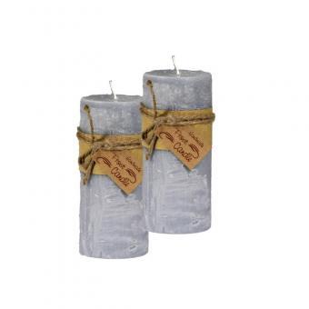 Frost Candle Stumpenkerze 6,5 cm Durchmesser, 14,5 cm Höhe, Grey 2-er Set