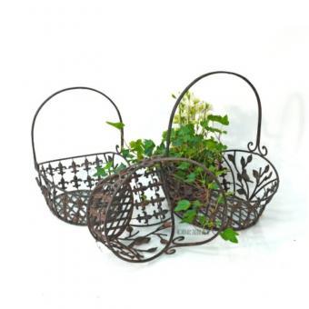 Henkelkorb Avis Eisenkorb Dekoration Blumenkorb Oval Metall  Korb 3-er Set