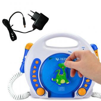 X4-Tech CD-Player + Netzadapter, Kinder, Blau-Weiss-Orange,  MP3, SD-Karte, USB