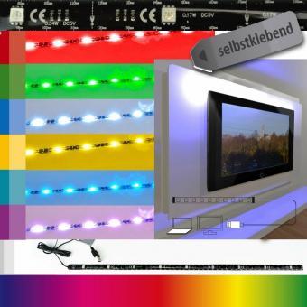 cornbay shop x4 life led leiste tv hintergrundbeleuchtung fernseher usb 7 farben 51 5 cm. Black Bedroom Furniture Sets. Home Design Ideas