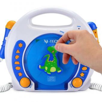 X4-Tech CD-Player für Kinder 2 Mikrofone, Blau-Weiss-Orange,  MP3, SD-Karte, USB