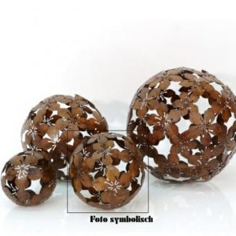 Dekokugel Blume 15 cm Metall Rostbraun