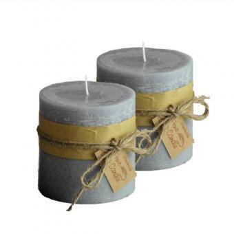Frost Candle Stumpenkerze 10 cm Durchmesser, 10 cm Höhe, Grey 2-er Set