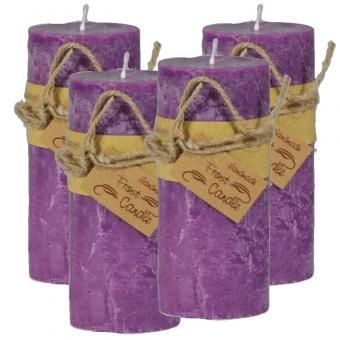 Frost Candle Stumpenkerze 6,5 cm Durchmesser, 14,5 cm Höhe, Violet 4-er Set