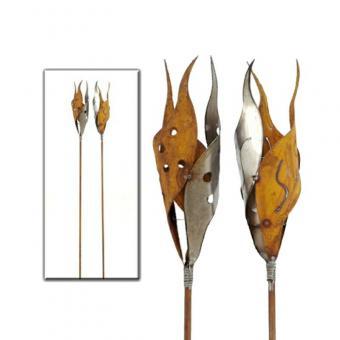 Gartenstecker 1 x 3-er Flamme Metall rost natur ca. 1,55 m