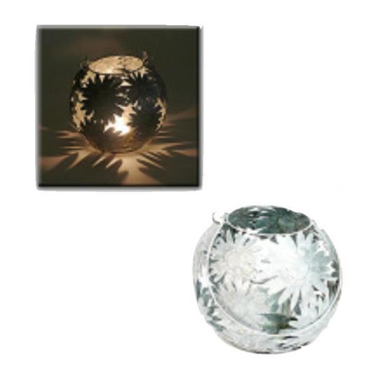 Windlicht Gerbera mit Glaseinsatz, Metall zink, D 19 cm, H 17 cm