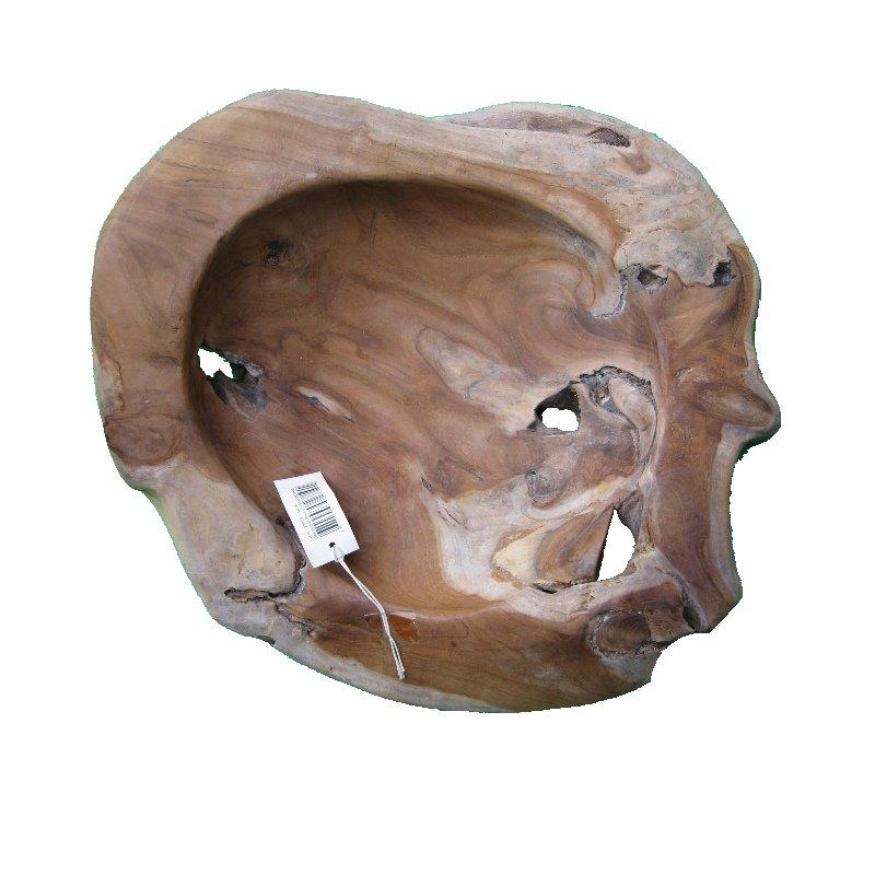 Teak Schale Holz Teakholz Obstschale 40 cm UNIKAT rustikal und massiv