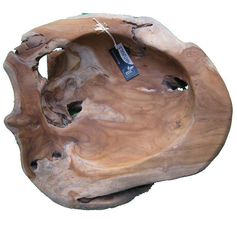 Exklusive Wurzelholz-Schale 50 cm aus massivem Teak-Holz natur