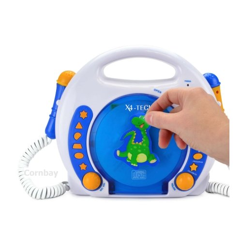 x4 tech cd player f r kinder 2 mikrofone blau weiss. Black Bedroom Furniture Sets. Home Design Ideas