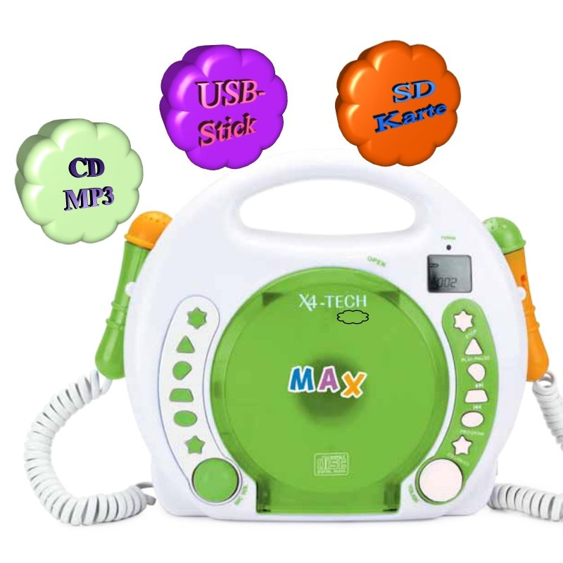 X4-Tech BobbyJoey-CD Tragbarer Kinder CD-Player mit Accu MP3 Akku Karaoke
