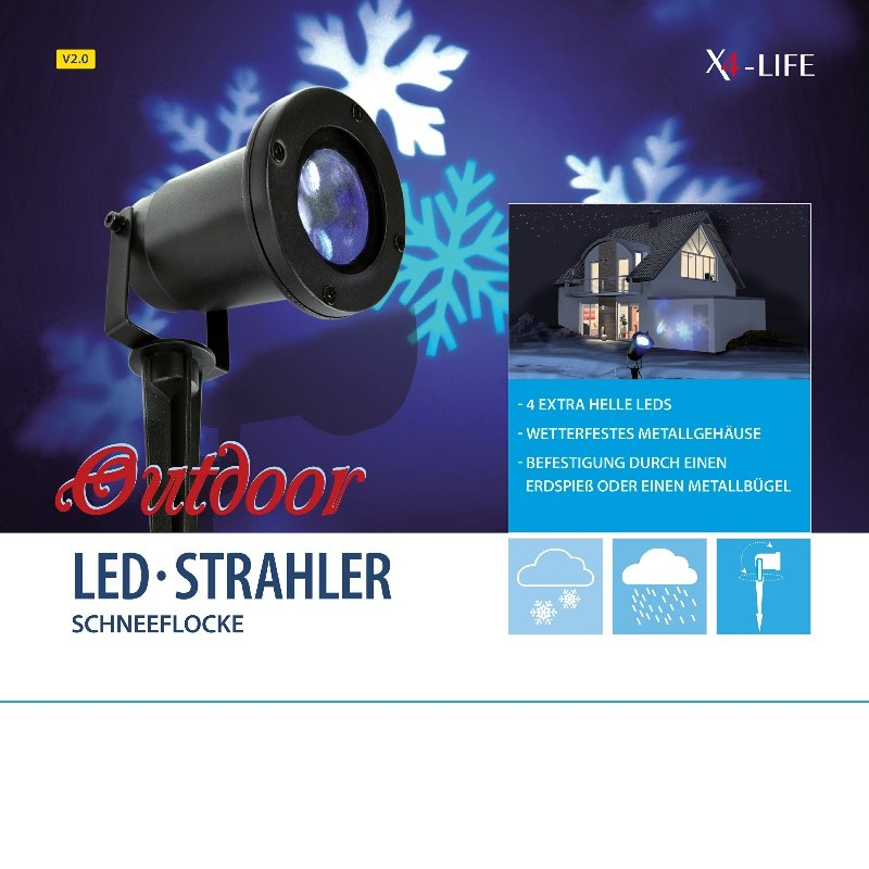 x4 life led strahler outdoor schneeflocke v2 0 ip64 beleuchtung projektor 4 watt ebay. Black Bedroom Furniture Sets. Home Design Ideas