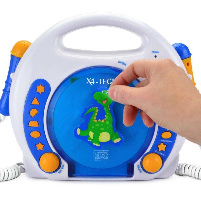 x4 tech cd player f r kinder 2 mikrofone blau weiss orange mp3 sd karte usb ebay. Black Bedroom Furniture Sets. Home Design Ideas